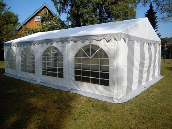 3x9m Partyzelt, PVC grau-weiß mit Bodenrahmen und Dachverstrebung