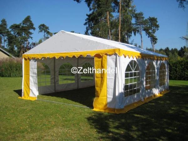 Partyzelt 3x6 gelb-weiß mit Dach-und Bodenverstärkung