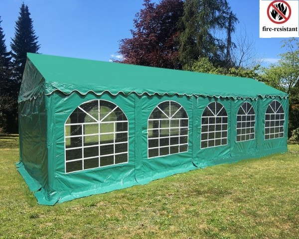 Großes 4x10m Partyzelt feuerfest grün PVC