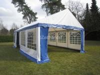 Partyzelt 5x8 PVC blau-weiß Gigant, 2,2m Seitenhöhe