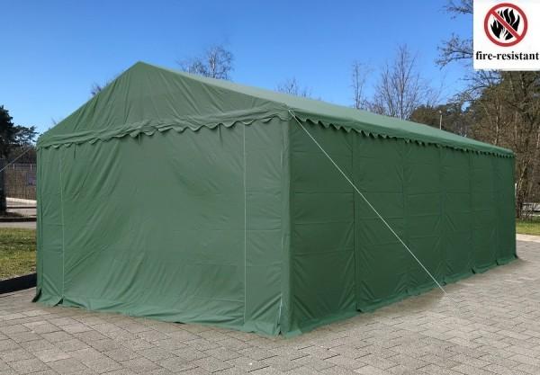 Lagerzelt 6x12 XXL grün feuerfest, PVC - 3m Einfahrtshöhe