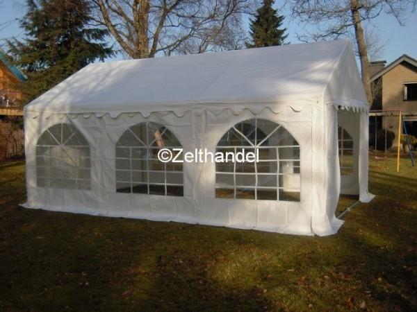 Partyzelt 4x6 weiß mit Bodenrahmen und Dachverstrebung