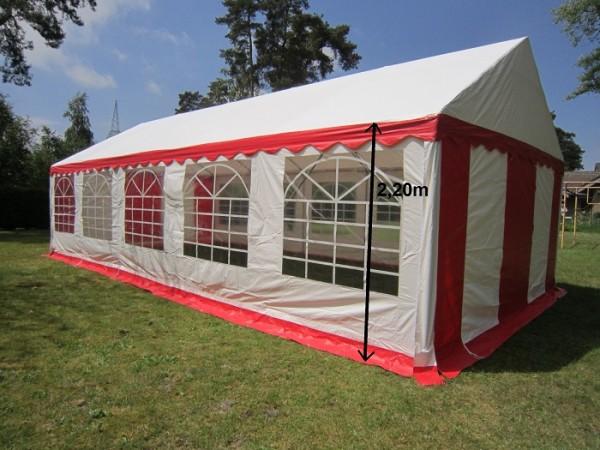 Partyzelt 5x10m rot-weiß PVC