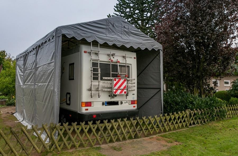 Lagerzelt 4x6 XXL grau PVC - 3m Einfahrtshöhe