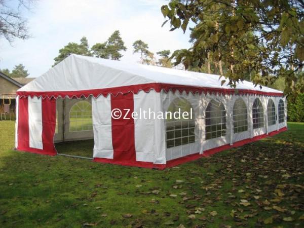 Partyzelt 6x12m rot/weiß mit Bodenrahmen und Dachverstrebung