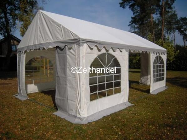 Partyzelt 5x6 grau-weiß mit Grundrahmen und Dachverstrebung