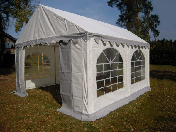 Partyzelt 5x4 grau-weiß, PVC, Bodenrahmen und Dachverstärkung