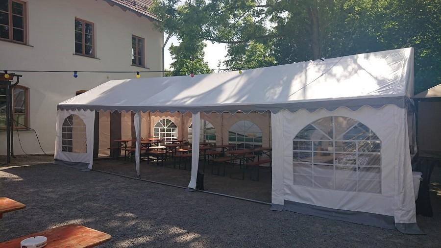 Partyzelt 4x10 grau-weiß, PVC, Boden- und Dachverstrebung