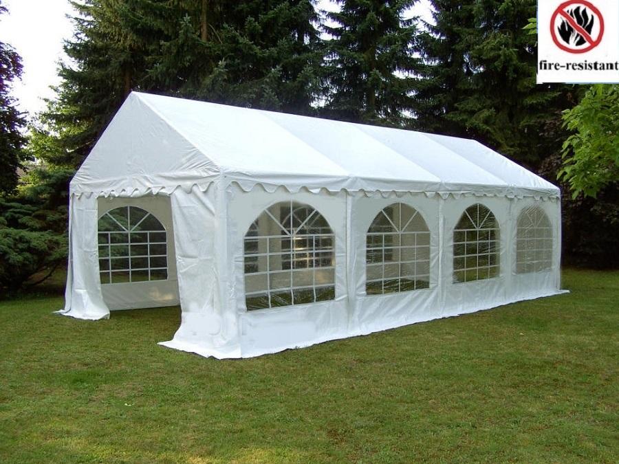 3x9m Festzelt Weiß Pavillon Polyethylen Partyzelt Gartenzelt Verbolzung PE