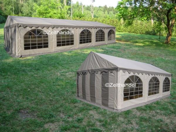Kombizelt 5x10/5x6 grau-weiß mit 2 Dachplanen