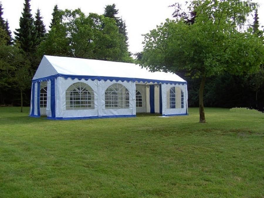 Partyzelt 4x8m blau-weiß,PVC feuerfest mit Dach-u.Bodenverstärkung