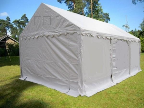 Kleines 4x6m Lagerzelt als Wetterschutz weiß PVC