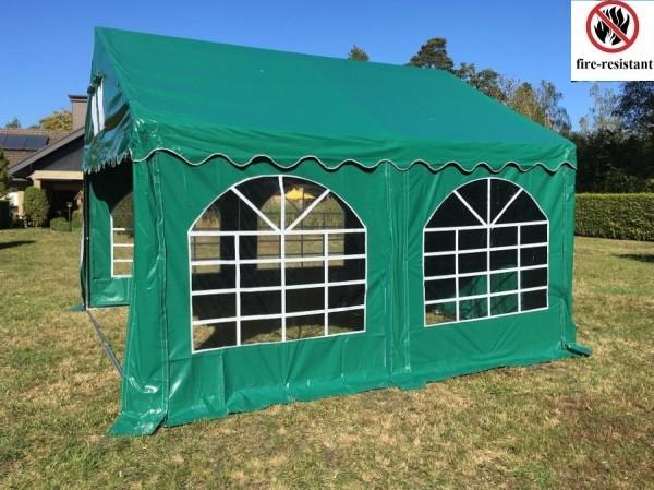 Partyzelt 4x4, PVC grün, feuerfest, Bodenrahmen u. Dachverstrebung