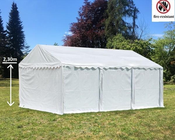 Lagerzelt 4x6m PVC wei0 mit Seitenhöhe 2,30m