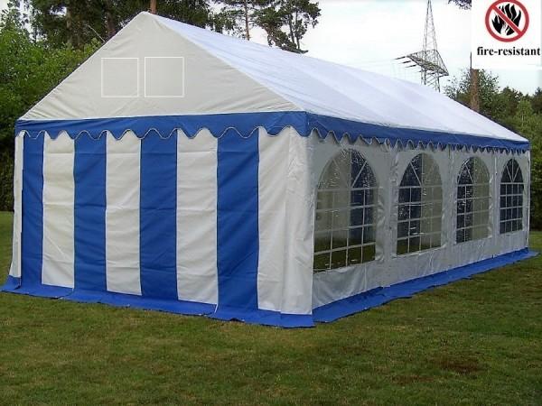 5x8m Partyzelt blau-weiß feuerfest PVC