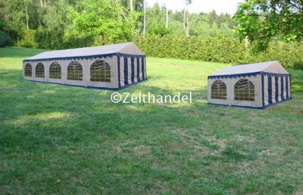 Kombizelt 4x10/4x4 blau-weiß mit 2 Dachplanen