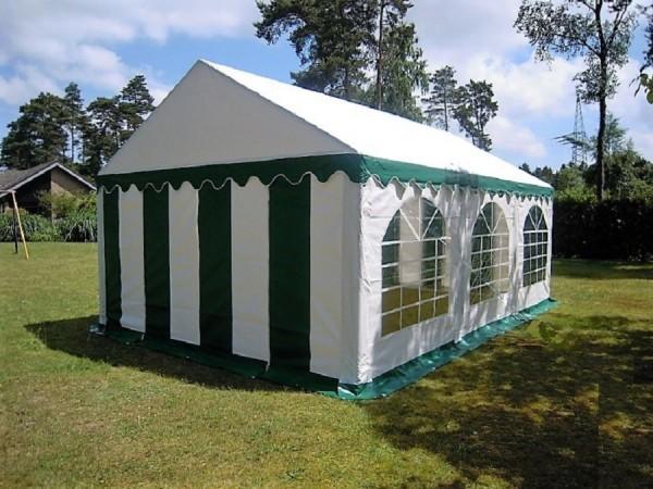 4x6m PVC Zelt gruen-weiß wasserdicht