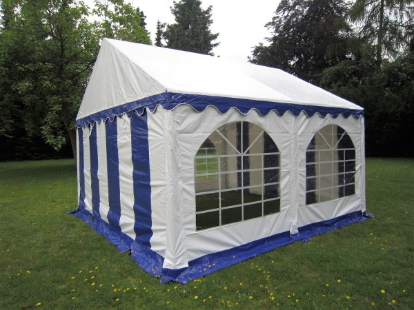 3x4 m Zelt, PVC blau-weiß, Bodenrahmen u. Dachverstrebung