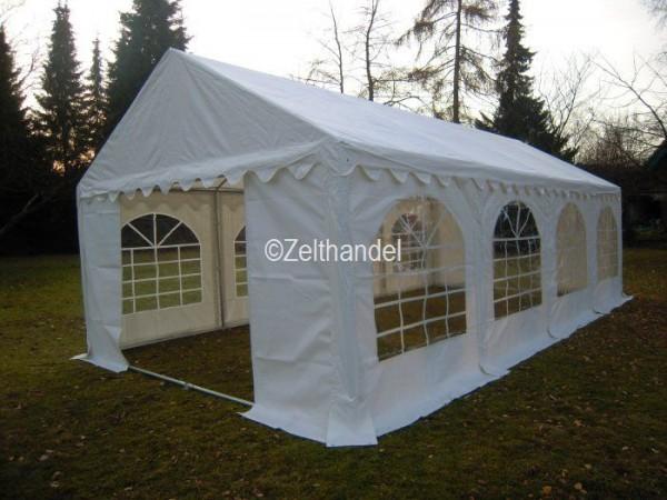 Partyzelt 3x8 m, PVC weiss-Zelthandel.de