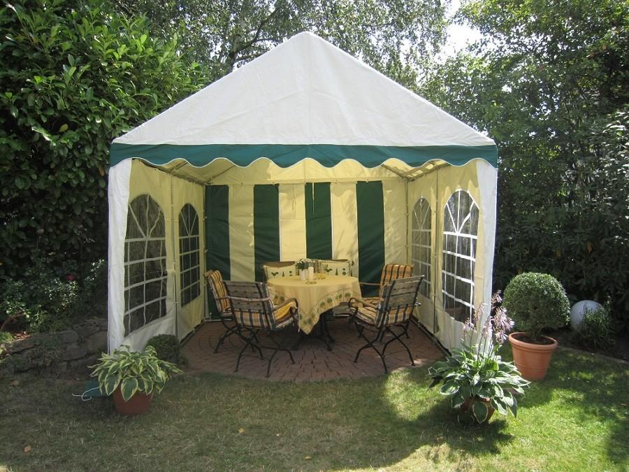 kleines Gartenzelt 4x4m grün-weiß mit 16qm Grundfläche