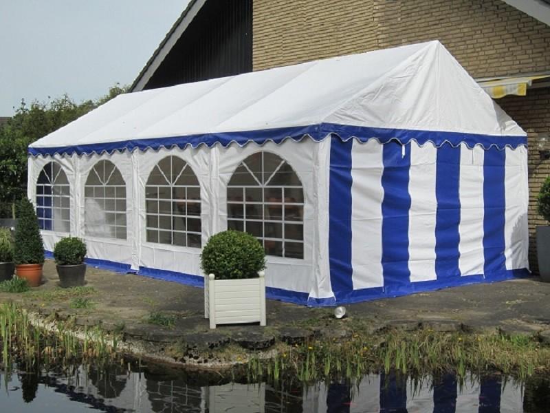Partyzelt 5x8 blau-weiß, PVC, Bodenrahmen u. Dachverstrebung