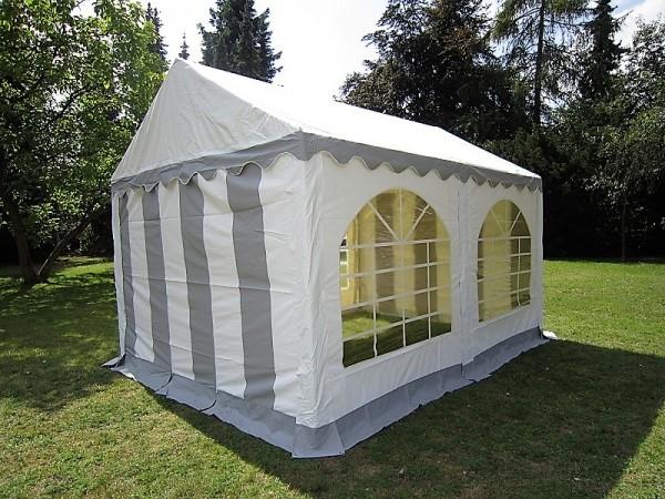 3x4m Partyzelt, PVC grau-weiß, Bodenrahmen u. Dachverstrebung