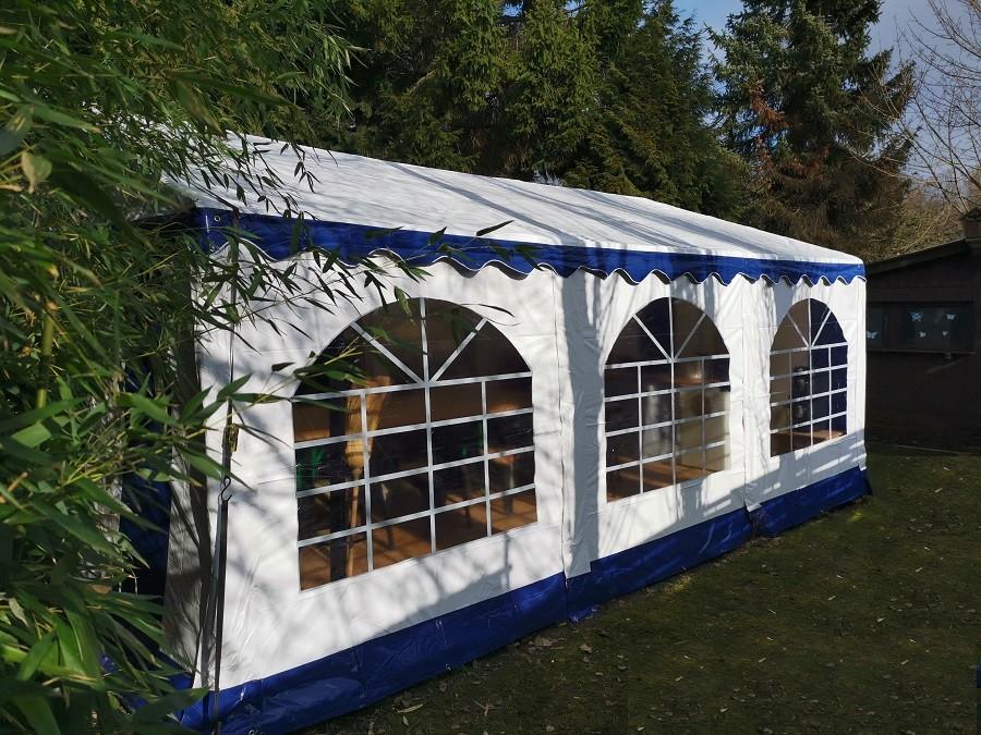 Partyzelt 3x6, PVC blau-weiß mit Dach - u. Bodenverstärkung