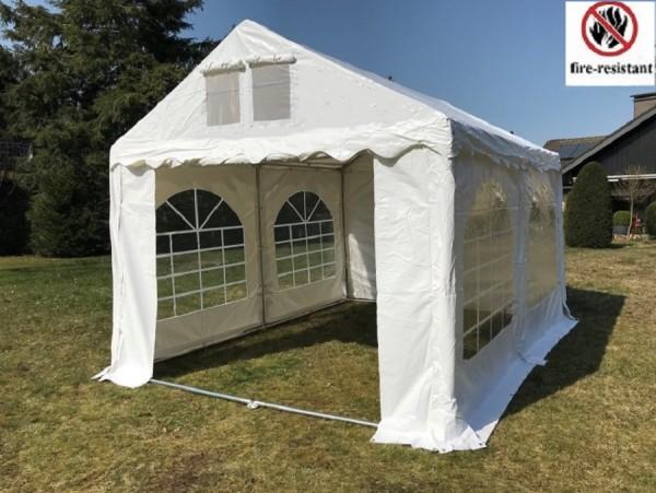 3x4m Partyzelt, PVC weiß, feuerfest, Dach u. Bodenverstärkung