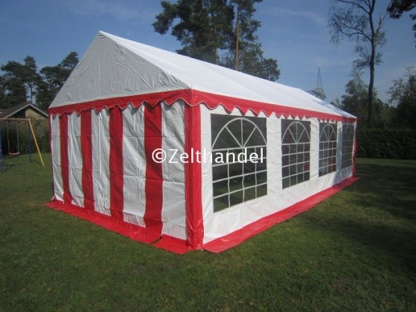 Partyzelt rot-weiss mit PVC Plane
