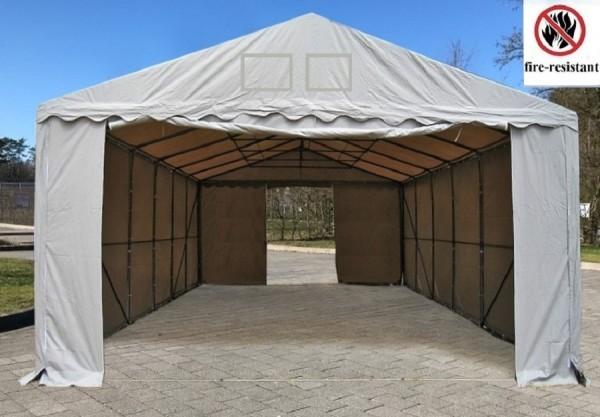Lagerzelt 5x8m PVC feuerfest grau - 3m Einfahrt