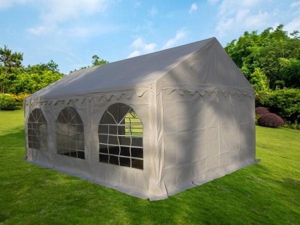 Partyzelt 4x6 weiß PVC, Bodenrahmen und Dachverstrebung