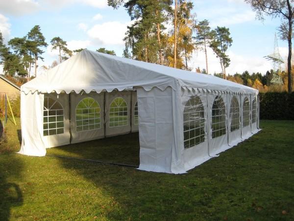 Partyzelt 5x10m weiß feuerfest PVC 500g/m²