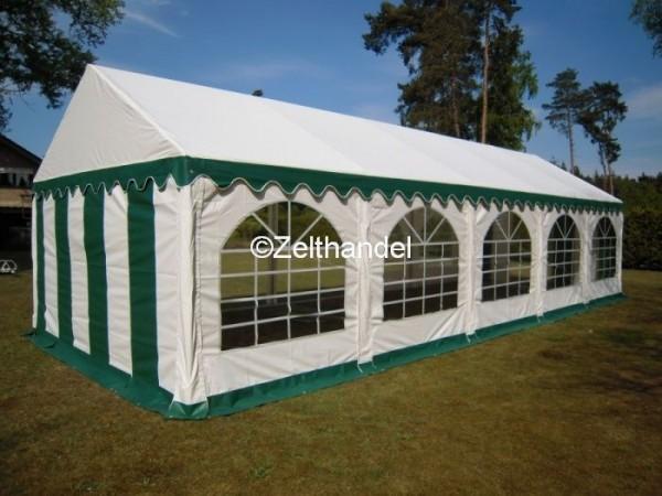 Partyzelt 5x10 grün-weiß mit Bodenrahmen und Dachverstrebung