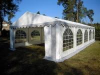 Partyzelt 5x10 grau-weiß mit Bodenrahmen und Dachverstärkung