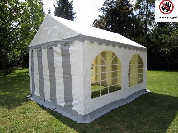 Partyzelt - Pavillon 3x4m grau-weiß feuerfest PVC
