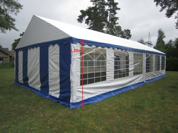 Partyzelt 6x12m XXL Gigant 2,2m Seitenhöhe, PVC blau-weiß