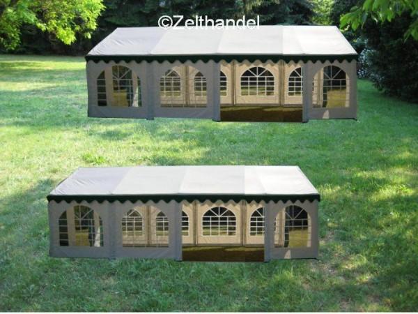 Kombizelt 6x10/6x8 grün-weiß mit 2 Dachplanen