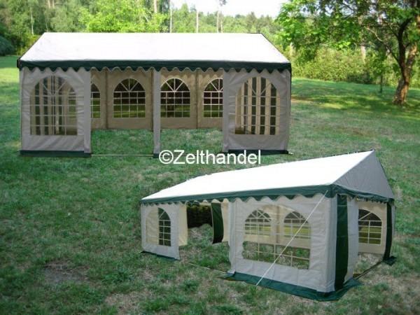 Kombizelt 4x8/4x6 grün-weiß mit 2 Dachplanen