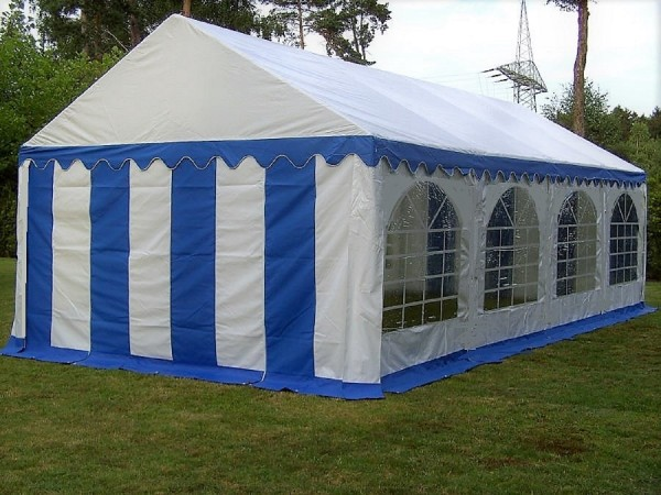 Partyzelt 3x8 PVC blau-weiß, feuerfest, Bodenrahmen u. Dachverstärkung