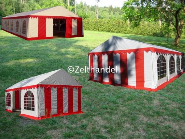 Kombizelt 6x12/6x8/6x6 rot-weiß mit 3 Dachplanen