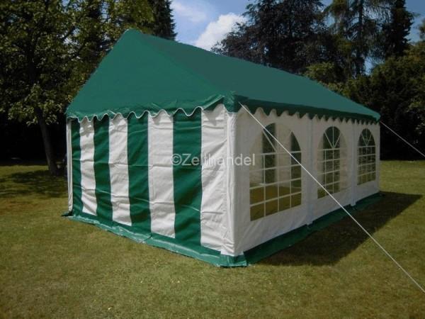 Partyzelt 3x6 grün/weiß grünes Dach PVC mit Dach- und Bodenverstärkung