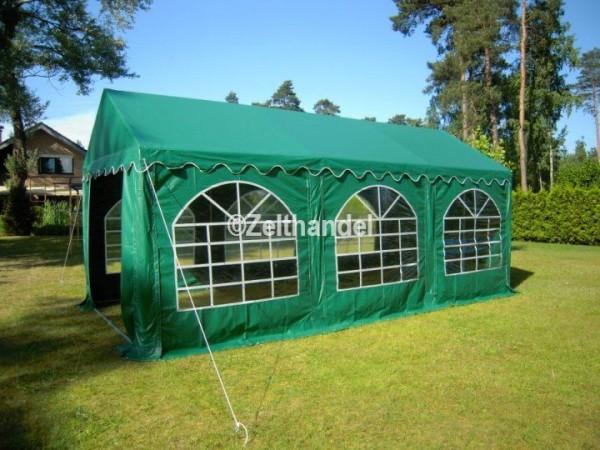 Partyzelt 4x6 grün mit Bodenrahmen und Dachverstrebung
