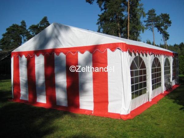 Partyzelt 5x8 rot-weiß mit Grundrahmen und Dachverstärkung