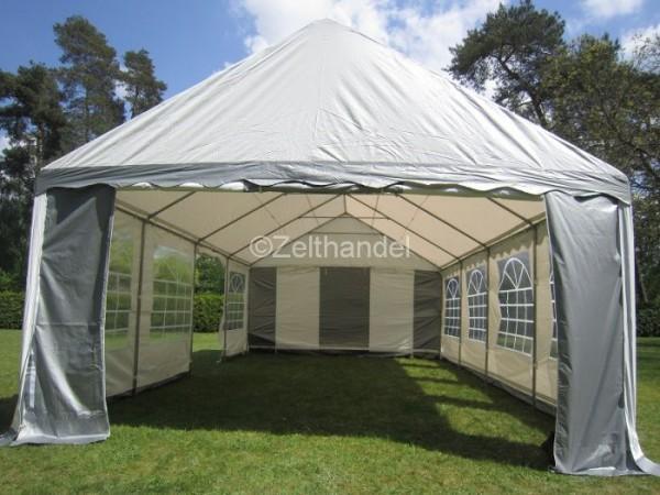 Partyzelt 5x10m XXL Gigant 2,2m Seitenhöhe, PVC grau-weiß