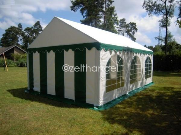 Partyzelt 3x6 grün-weiß mit Dach-und Bodenverstärkung
