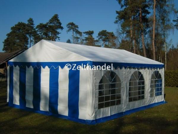 Partyzelt 4x6 blau-weiß mit Bodenrahmen und Dachverstrebung
