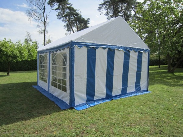 Party Zelt 4x4 m, PVC blau-weiß