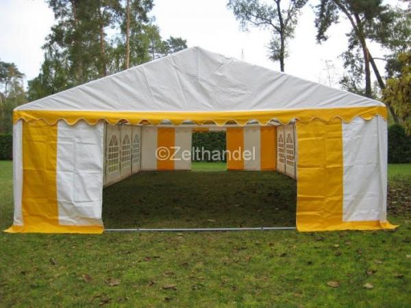 Partyzelt 5x10 gelb-weiß mit Bodenrahmen und Dachverstärkung