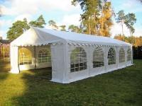 Partyzelt 5x10 weiß PVC, Bodenrahmen und Dachverstrebung