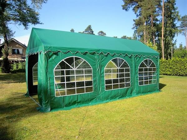 Partyzelt 4x6 grün PVC, Bodenrahmen u. Dachverstrebung